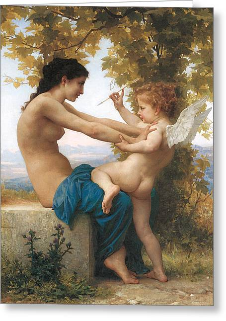 Eros Art Greeting Cards - Young Girl Defending Herself Against Eros Greeting Card by Adolphe-William Bouguereau