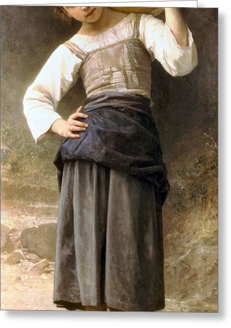 Water Jug Greeting Cards - Young Girl Going to the Fountain Greeting Card by William Bouguereau