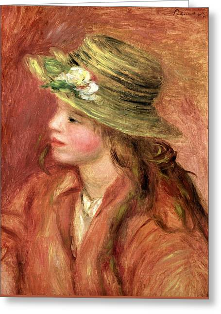 Young Girl In A Straw Hat Greeting Card by Pierre Auguste Renoir