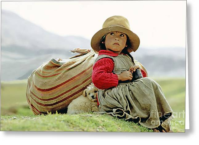 Best Sellers -  - Puppies Photographs Greeting Cards - Young Girl in Peru Greeting Card by  Victor Englebert