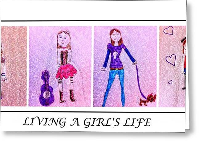 Crosshatching Greeting Cards - Young Girl - Living a Girls Life - Childs Drawing - Childrens Art Greeting Card by Barbara Griffin and Jaden
