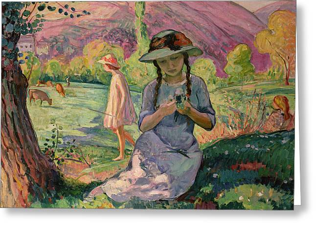 Summer Dresses Greeting Cards - Young Girl picking Flowers Greeting Card by Henri Lebasque