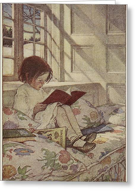Young Girl Reading A Book Greeting Card by British Library