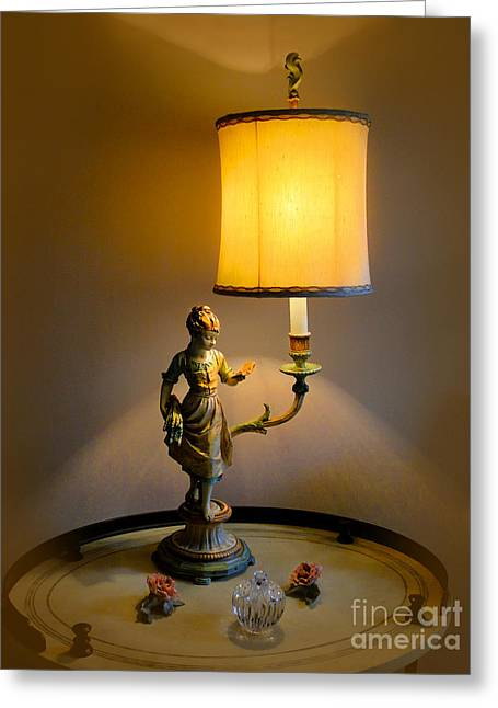 Lamplight Greeting Cards - Young Girl Reading By Lamplight Greeting Card by Al Bourassa
