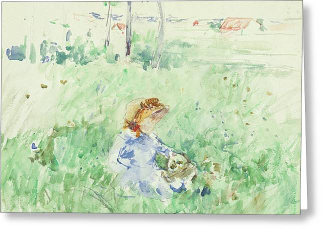 Sit-ins Greeting Cards - Young Girl Seated on the Lawn Greeting Card by Berthe Morisot