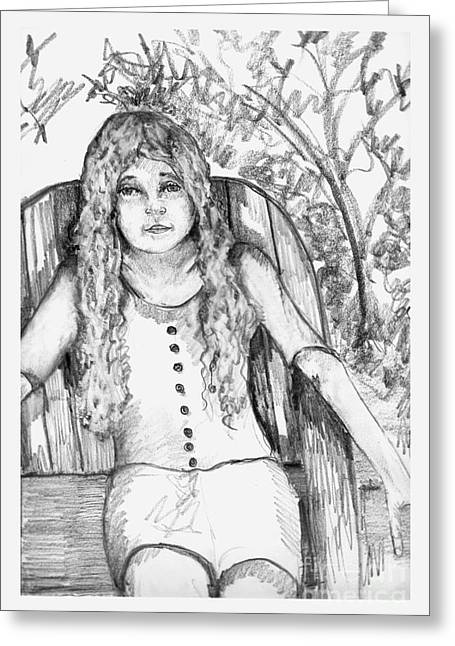 Lawn Chair Drawings Greeting Cards - Young Girl Sitting on Lawn Chair Greeting Card by Joseph Wetzel