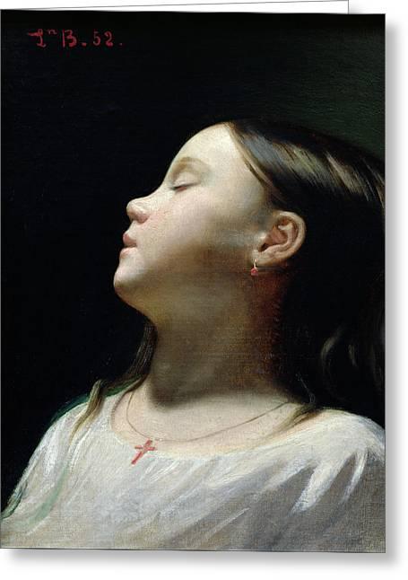 Young Girl Sleeping Greeting Card by Leon Joseph Florentin Bonnat
