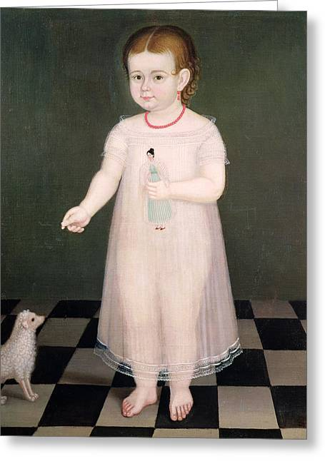 Childs Dog Greeting Cards - Young Girl With A Doll, 1838 Oil On Canvas Greeting Card by Jose Maria Estrada