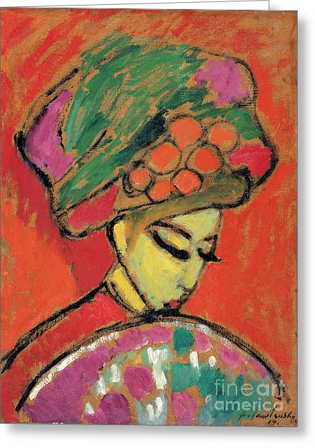 Strength Paintings Greeting Cards - Young Girl with a Flowered Hat Greeting Card by Celestial Images