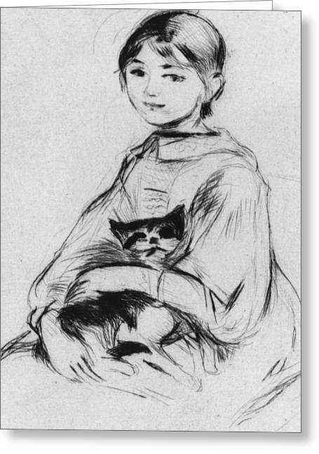 Cute Kitten Pastels Greeting Cards - Young girl with cat Greeting Card by Berthe Morisot