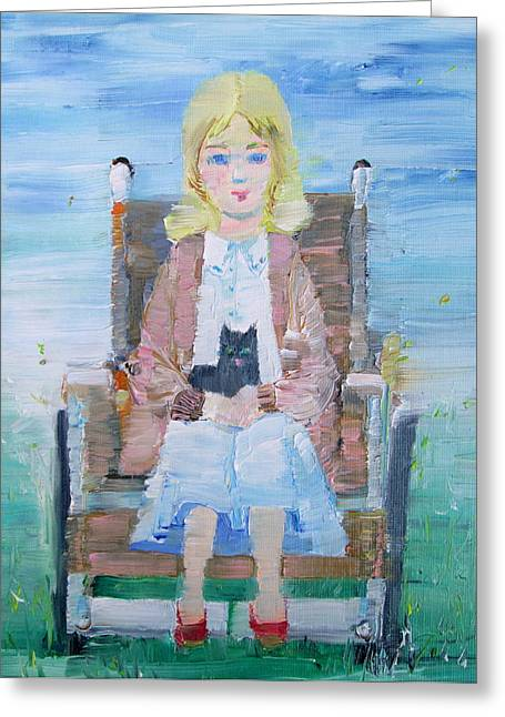 Young Girl-with Cat- On Wheelchair Greeting Card by Fabrizio Cassetta