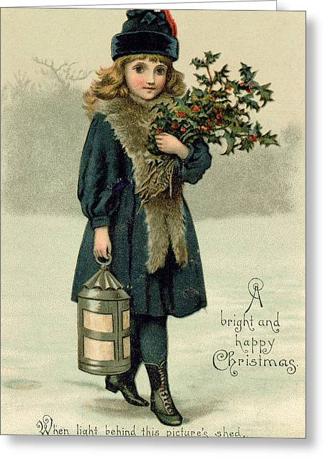 Young Girl With Holly And Lantern Greeting Card by English School