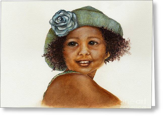 Watercolorist Greeting Cards - Young Girl with Straw Hat Greeting Card by Nan Wright