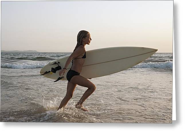 Girl Sports Greeting Cards - Young Girl With Surfboard Costa De La Greeting Card by Ben Welsh