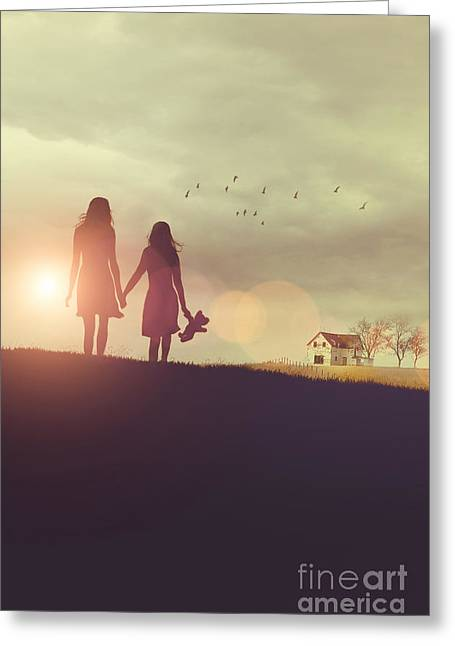 Missing Child Greeting Cards - Young girls in silhouette walking in grass towards farm Greeting Card by Sandra Cunningham