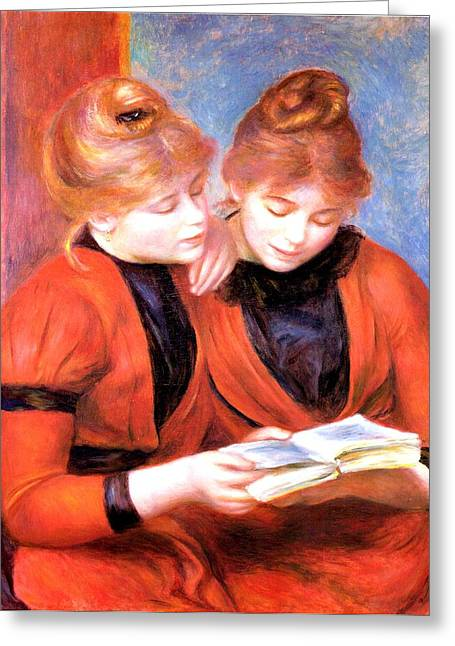 Young Girls Reading Greeting Card by Pierre-Auguste Renoir