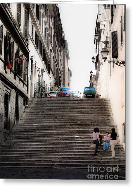 Girl Talk Greeting Cards - young girls sat on the steps chatting off the Via Cavour Rome It Greeting Card by Peter Noyce