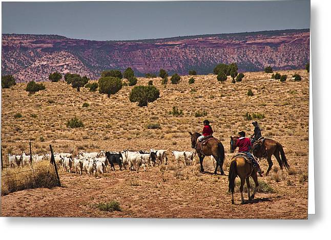 Slickrock Greeting Cards - Young Goat Herders Greeting Card by Priscilla Burgers