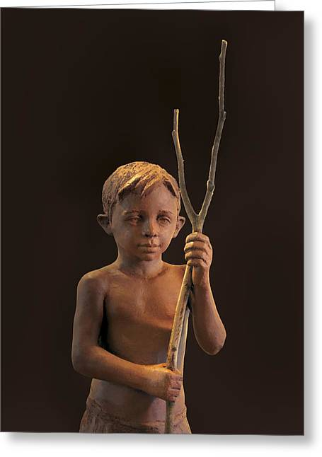 Ceramic Sculpture Sculptures Greeting Cards - Young Guardian Greeting Card by Mary Buckman