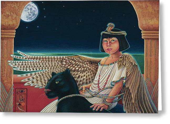 Scarab Greeting Cards - Young Isis Protects the Night Greeting Card by Susan Helen Strok