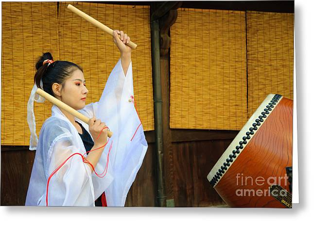 Playing Musical Instruments Greeting Cards - Young Japanese lady in period costume playing taiko drum Greeting Card by David Hill