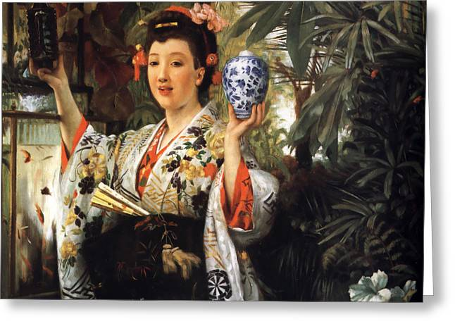 Young Japanese Lady Greeting Card by James Jacques Joseph Tissot