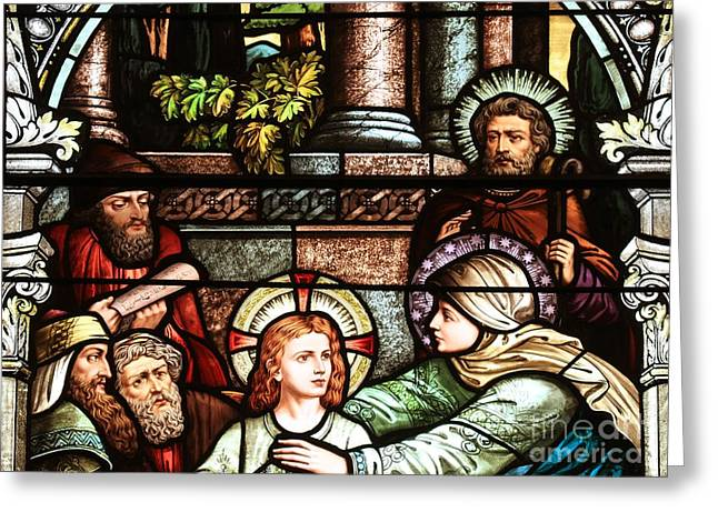 Jesus And Disciples Greeting Cards - Young Jesus In The Temple Greeting Card by Adam Jewell