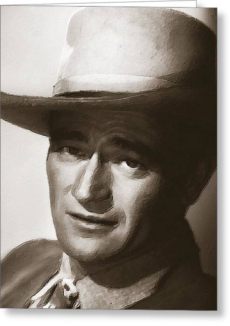 Academy Awards Oscars Greeting Cards - Young John Wayne Painting Traditional Greeting Card by Tony Rubino