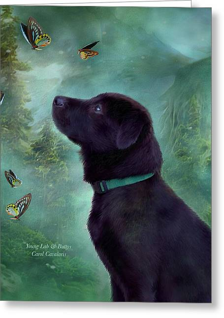 Dog Prints Mixed Media Greeting Cards - Young Lab And Buttys Greeting Card by Carol Cavalaris