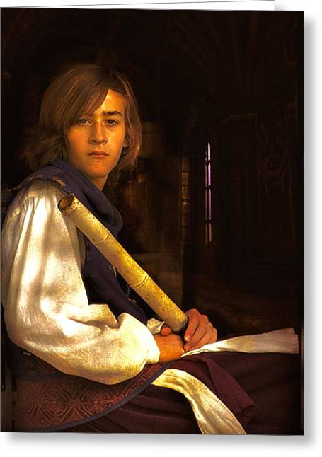 Young Lad In Window Greeting Card by John Rivera