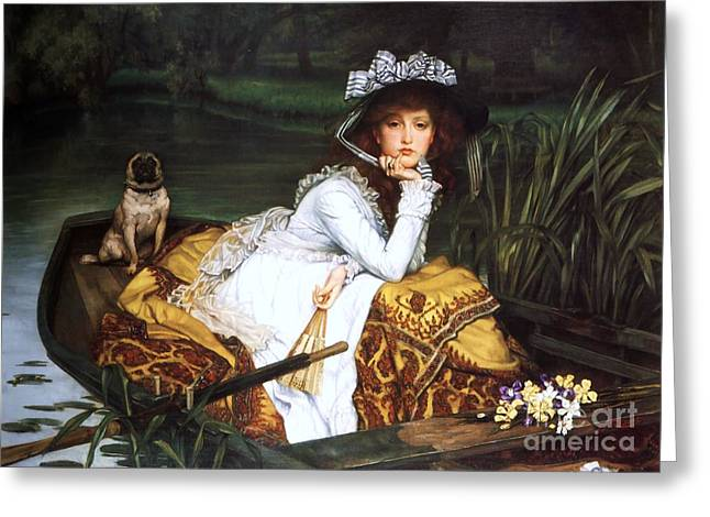 Conversations Greeting Cards - Young Lady in a Boat Greeting Card by Pg Reproductions