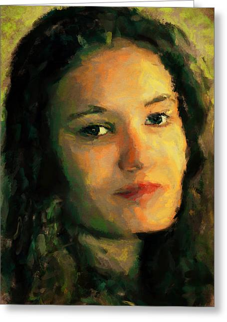 Young Lady Greeting Cards - Young Lady Portrait 2 Greeting Card by Yury Malkov