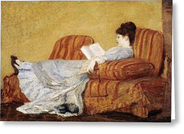 Young Lady Greeting Cards - Young Lady Reading Greeting Card by Celestial Images