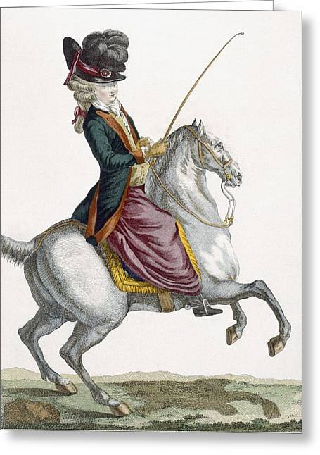 Young Lady Riding A Horse, Engraved Greeting Card by Pierre Thomas Le Clerc