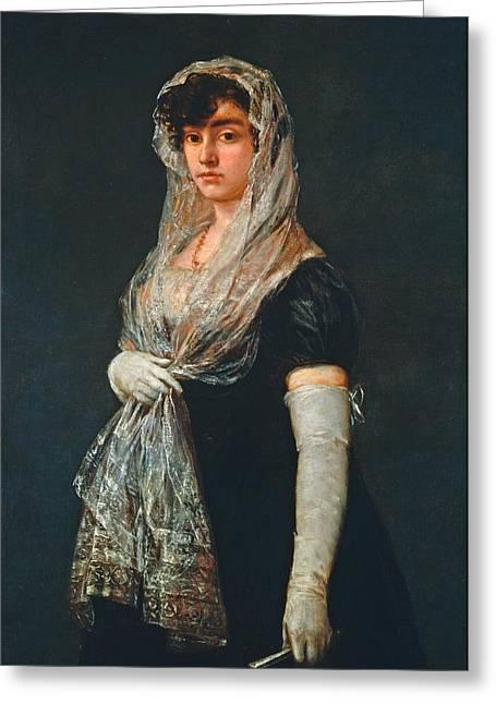 Lady Washington Greeting Cards - Young Lady Wearing a Mantilla and Basquina Greeting Card by Francisco Goya