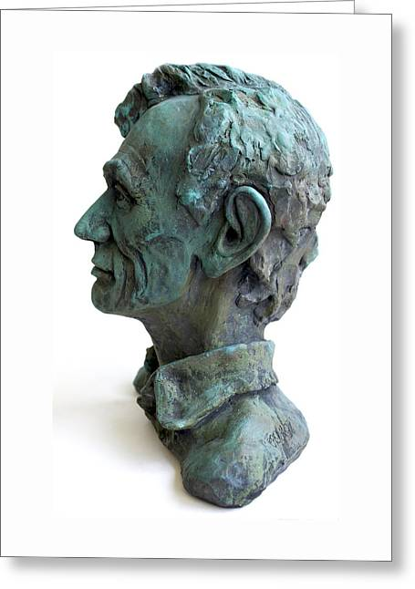 Ceramic Sculpture Ceramics Greeting Cards - Young Lincoln -sculpture Greeting Card by Derrick Higgins