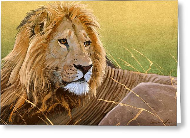 Lions Digital Art Greeting Cards - Young Lion Greeting Card by Aaron Blaise