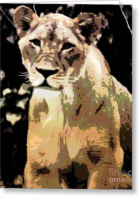 Struckle Digital Art Greeting Cards - Young Lion Greeting Card by Kathleen Struckle
