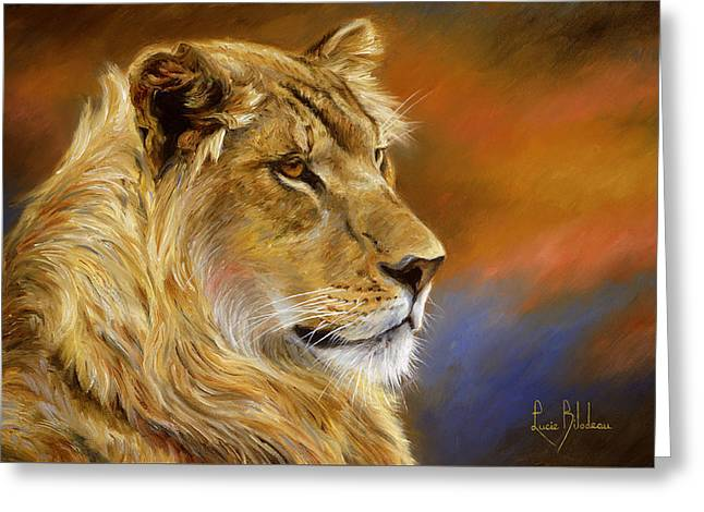 Outdoors Paintings Greeting Cards - Young Lion Greeting Card by Lucie Bilodeau