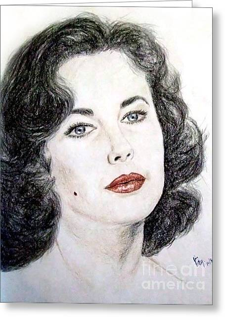 Burton Drawings Greeting Cards - Young Liz Taylor Portrait Greeting Card by Jim Fitzpatrick