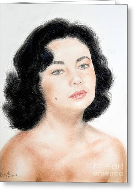 Sf Bay Bombers Mixed Media Greeting Cards - Young Liz Taylor Portrait Remake Greeting Card by Jim Fitzpatrick