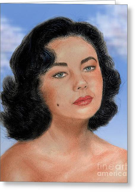 Beauty Mark Greeting Cards - Young Liz Taylor Portrait Remake Version II Greeting Card by Jim Fitzpatrick