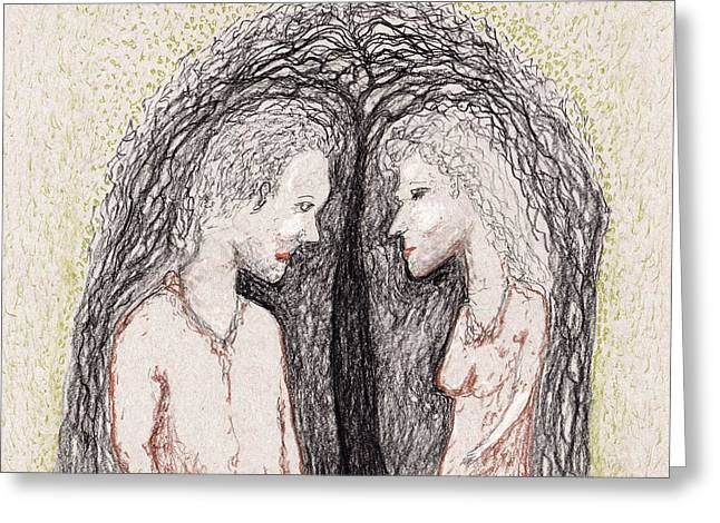 First Love Drawings Greeting Cards - Young Love Greeting Card by Jim Taylor
