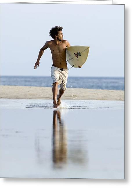 Surf Lifestyle Greeting Cards - Young Male Surfer Walking With His Board Greeting Card by Ben Welsh