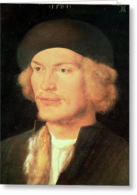 Moustache Greeting Cards - Young Man, 1507 Oil On Panel Greeting Card by Albrecht Dürer or Duerer