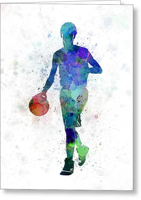Basketball Paintings Greeting Cards - Young Man Basketball Player Dribbling  Greeting Card by Pablo Romero