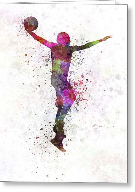 Dunking Paintings Greeting Cards - Young Man Basketball Player Dunking Greeting Card by Pablo Romero