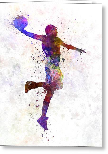 Basketball Paintings Greeting Cards - Young Man Basketball Player One Hand Slam Dunk Greeting Card by Pablo Romero