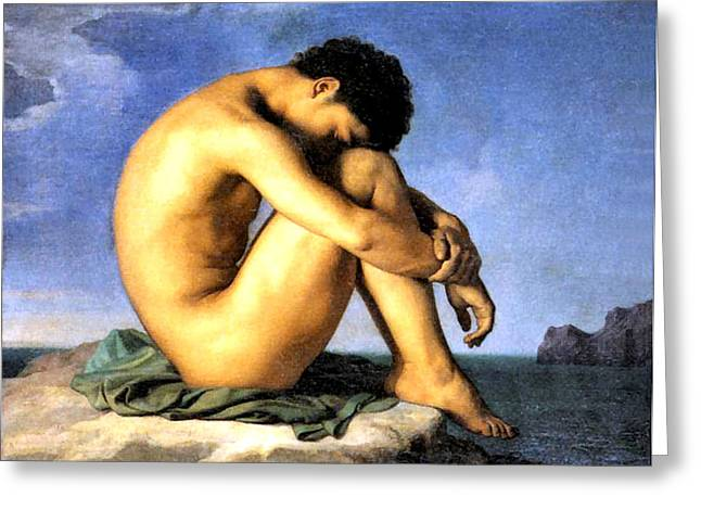Flandrin Greeting Cards - Young Man by the Sea Greeting Card by Hippolyte Flandrin
