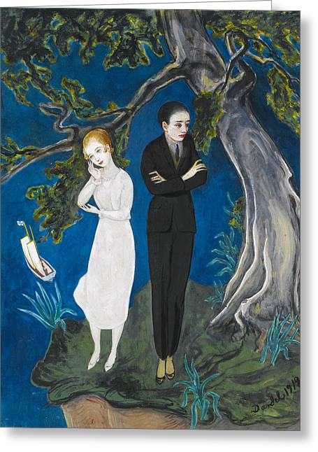 Nils Greeting Cards - Young Man in Black. Girl in White Greeting Card by Nils Dardel